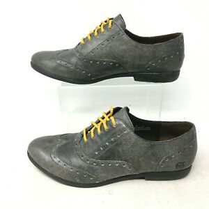 Born Oxfords Brogue Wingtip Dress Shoes B69922 Low Top Leather Grey Womens 8