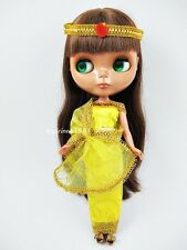 YELLOW INDIA SARI SAREE COSTUME DRESS HEADBAND FOR NEO BLYTHE DOLL ASPIRINNO-164