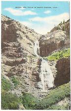 Bridal Veil Falls, Provo Canyon, Utah, Unused Vintage Linen Postcard