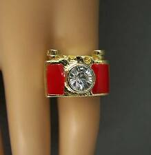 Red Gold tone camera photo photography big statement cocktail ring
