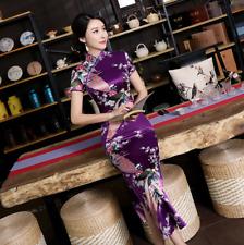 New Luxurious Purple Satin Phoenix Chinese Long Dress Cheongsam Qipao dress