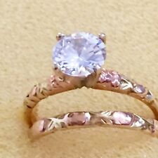 14K 2 Tone Retro Vintage CZ  Wedding Set: Engagement & Wedding Ring
