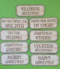 45 Beige Christmas Sentiment Tickets Card Making Scrapbook Craft Embellishments