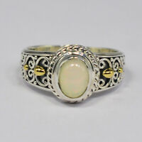 925 Sterling Silver Ethiopian Opal Gemstone Ring Size 9 US Ring Jewelry CCI
