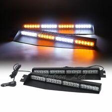 """34"""" 48W LED Amber White Flashing 15 Modes Warn Dash Strobe Visor Split Light Bar"""