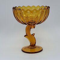 Vintage Indiana Glass Amber Lotus Blossom Compote NICE