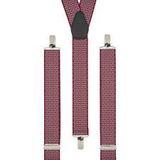 Cross Hatch Rojo Clip En Pantalón Tirantes Elástico Tirantes Hecho A Mano Reino Unido