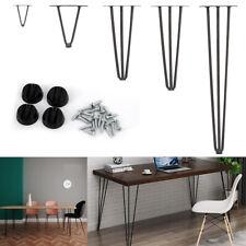4X Metal Steel Hairpin Legs w/Floor Protector Feet & Screws for Bench Desk Table