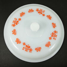 Vintage Fire King #5210 Lid White with Pink Tulips and Butterflies 9.75""