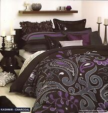 KASHMIR CHARCOAL BY LOGAN & MASON QUEEN QUILT COVER SET NEW