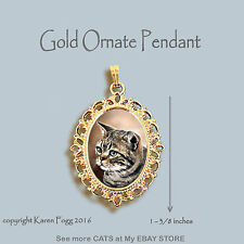 Tabby American Shorthair Striped Cat - Ornate Gold Pendant Necklace