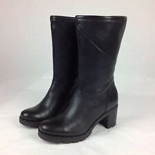 UGG JESSIA BLACK WATER-RESISTANT LEATHER SHEEPSKIN BOOTS, US 7