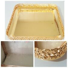 Gold Square Plated Chrome Serving Tray Vintage Indian Tea Design Royal Paandan