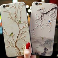 3D Embossed Floral Birds Case For iPhone 12 11 Pro X XR XS Max SE 7 8 Plus