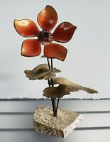 1970's Mid Century Modern Enamel/Brass Flower Sculpture on Faux Stone Base