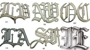 Old English Style Initials Los Angeles New York Las Vegas IE USA Belt Buckle