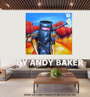 Original art painting print  Andy Baker Australia Ned kelly abstract canvas