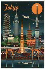 Tokyo Japan Retro Skyline, Airplane, Railroad Train, Moon etc. - Modern Postcard