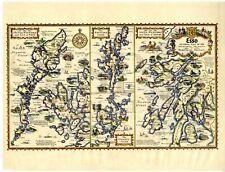 1932 MAP Pictorial Hebrides SKYE Arran ORKNEY Shetland SCOTTISH ISLES Scotland