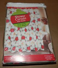 "Christmas Shower Curtain 70"" X 72"" With Hooks Poinsettias Design Polyester 90C"