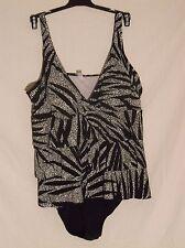 NWT Tropical Escape designer one piece swimsuit size 20W triple tier faux