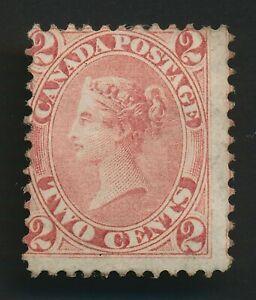 CANADA STAMP 1864 QV 2c ROSE-RED SG #44 MINT ORIGINAL GUM, FINE CLASSIC