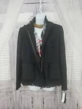 Harve Benard Womens Jacket Coat Black Wool Zip Up Fringe Patch Pockets 10 New