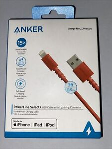 Anker Powerline Select USB-C Cable with Lightning Connector 3 ft Red