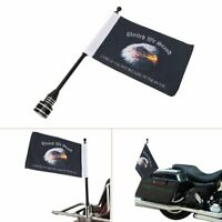 Motorcycle Flag Pole Mount & 6 x 9 American Flag Eagle For Honda Goldwing Yamaha