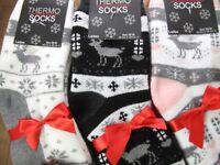 Thermosocken Norwegermuster 2er Pack Rentiere Kinder winter Socks Damen Gr.35-38