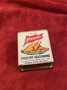 Vintage French's Poultry Seasoning Spice Tin, Chicken and Turkey, Great Graphics