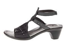 """Naot """"Vogue"""" Handcrafted Brushed Black Metallic Leather 11 -11.5 Sandals New"""