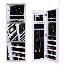 Over The Door Mirror Jewelry Cabinet Armoire Organizer Storage Box Ring White