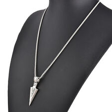 New Mens Silver/Gold Arrowhead Arrow 316L Stainless Steel Pendant Chain Necklace