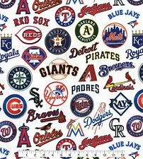 MLB Teams Tossed 100% COTTON FABRIC  BY THE 1/4 YARD