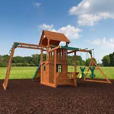 Huge Cedar Wood 2 Level Playset Outdoor Playground Slide Swing Set Clubhouse