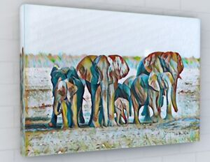 STUNNING ELEPHANTS PAINTING STYLE CANVAS PICTURE PRINT CHUNKY FRAME LARGE 2221-2