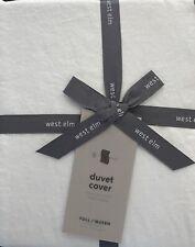 west elm belgian linen full/qn duvet No Shams in white