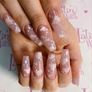 False nails UV Gel Long Coffin Pink Sky 24pk + nail tabs by Beautiful nails