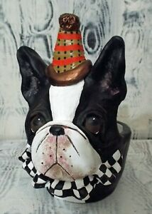 Boston Terrier Dog  Pottery Pot One of a Kind Hand Made Original Art