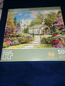 Corner Piece Puzzles 500 pieces mountain view chapel 500 Piece Jigsaw Puzzle