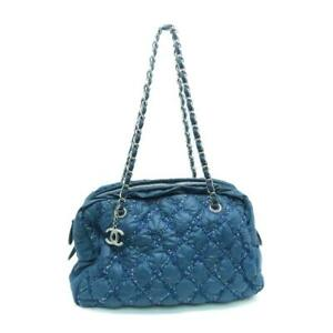 Chanel Quilted CC SHW Chain Tote Bag Nylon Blue 9254