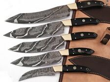 HAND FORGED DAMASCUS STEEL CHEF KNIFE KITCHEN Knives Set W/Bull Horn Brass Handl