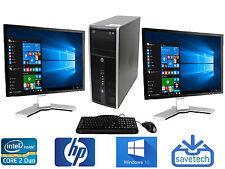"""FAST HP Desktop PC DUAL SCREEN 3.0Ghz 8GB 250GB WIN 10 20"""" LCD Monitor + WIFI"""