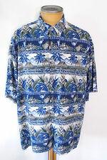 Men`s PIERRE CARDIN Tropical Short Sleeve Shirt Multi Blue Green Rayon Size XXL