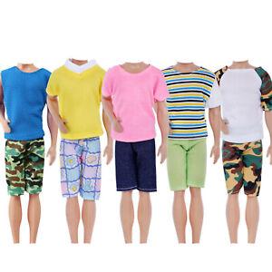 10 Pcs=5 Sets Shirt Shorts Fashion Casual Dress Men Clothes For 12 in. Ken Doll