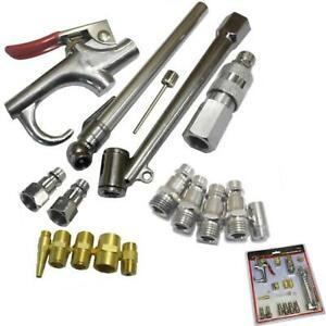 Neilsen 17pc Air Blow Gun Line Duster Nozzle Euro Fitting Gauge Compressor Kit