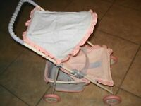 AMERICAN GIRL 2013 BITTY BABY PINK LAVENDER FOLDING STROLLER RETIRED FOLDS FLAT
