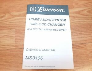 Genuine Emerson (MS9825) Audio System with 3-CD Changer Owners Manual Only *READ