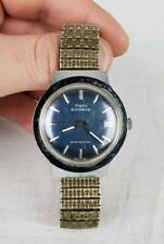 Vtg Timex Mens Watch Automatic Water Resistant Date Navy Dial Running Condition